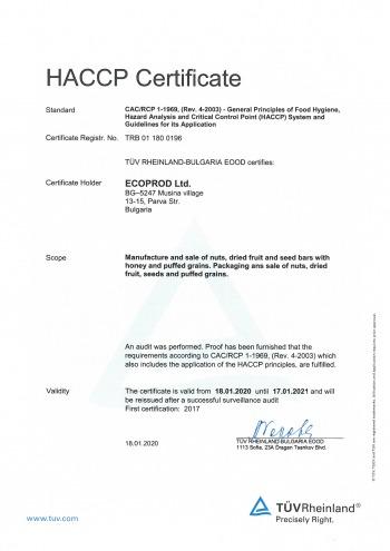 ECOPROD HACCP certificate EN 2020