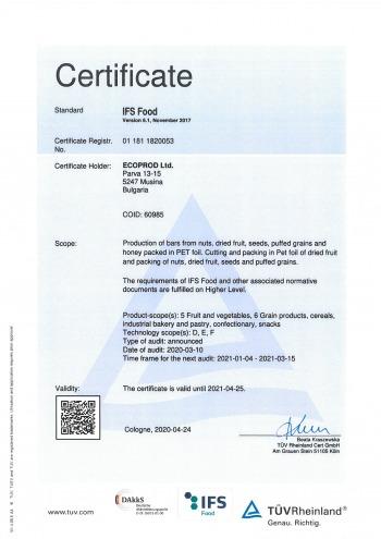 Ecoprod 20 IFS Certificate EN